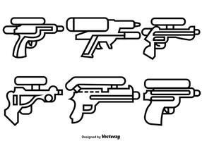 Vektor uppsättning av linje stil vatten vapen ikoner