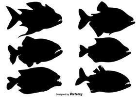 Silhouettes de vecteur de poisson Piranha