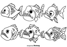 Piranha Fish Vector Outline Icons