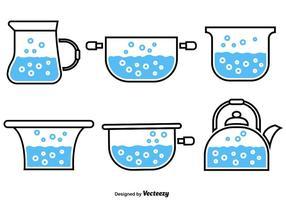 Iconos de agua hirviendo vector