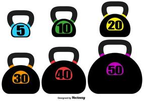 Vector Kettle Bell Set On White Background