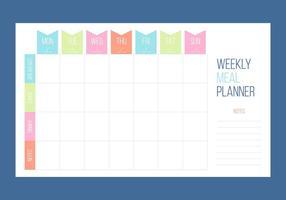 Vectores libres únicos del calendario semanal
