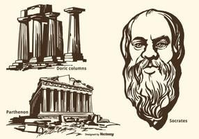 Ancient Greek Monuments And Socrates Vector Hand Drawn Set