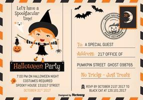Cute Halloween Party 2017 Invitation Postcard Vector Template