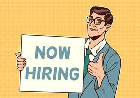 Businessman Now Hiring Concept Vector