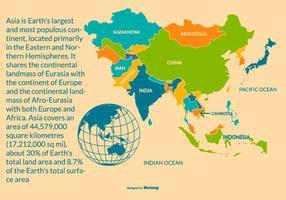 Bunte Karte von Asien mit Regionen