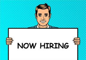 Now Hiring Pop Art Illustration Background