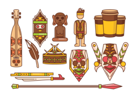 Dayak Icons Vector