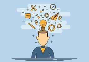 Mente abierta con muchas ideas Vector