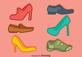 Man And Woman Shoes Collection Vector