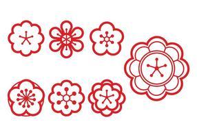 Plommon blommar vektor uppsättning