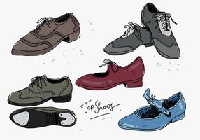 Tap Shoes Hand Drawn Collection Vector Illustration