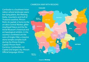 Färgglada Kambodja Karta med Regioner