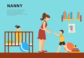 Nanny With Two Children vector