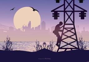 Landscape with Lineman Silhouette vector