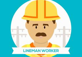 Cute Lineman Worker Illustration