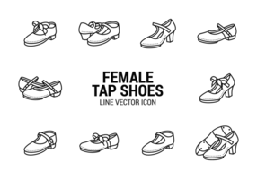 Female Tap Shoes Icons Vector