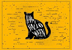 Illustrazione di Halloween Cat Vector Vintage gratuito