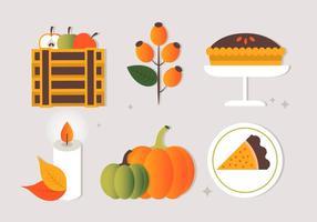 Diseño de vector plano libre Iconos y elementos de otoño