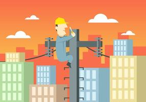 Lineman CIty Landscape Illustration Vector