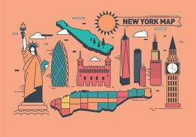 Icon New York and Map Vector