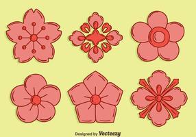 handdragen plommon blommar blommor vektor