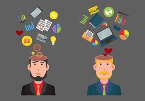 Negócios, coisas, mente aberta, ilustração vetorial