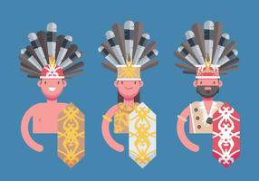 Dayak Borneo Etnisk Folk Flat Vector Illustration