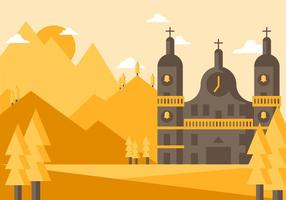 Abbey Landscape Illustration Vector
