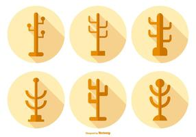 Coat Stand Icons with Long Shadow vector