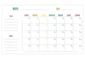Vecteurs de calendrier mensuel unique gratuit