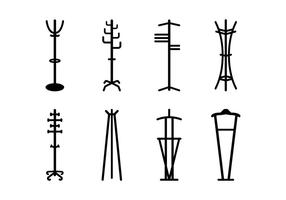 Coat stand vector icons