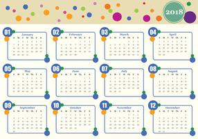 Modèle de vecteur de calendrier mensuel imprimable 2018