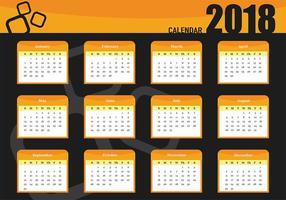 Plantilla de vector de calendario mensual imprimible 2018
