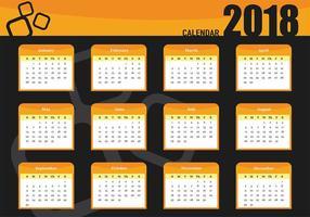 Vector sjabloon van afdrukbare maandelijkse kalender 2018