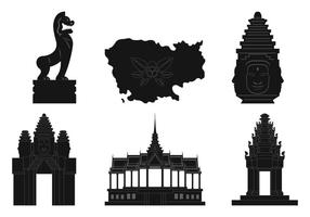 silhouettes cambodia vector elements