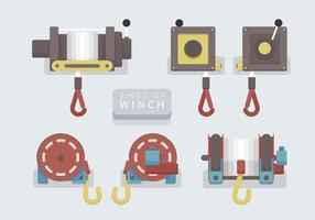 Winch Set Vector Flat Illustration