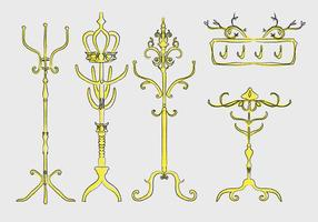 Gold Ornamental Coat Stand Hand Drawn Vector