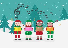 Gratis Jul Carolers Vektor illustration