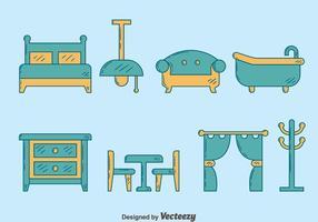 Vector de móveis de casa desenhados a mão