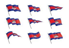 Drapeaux du Cambodge Vecteur libre