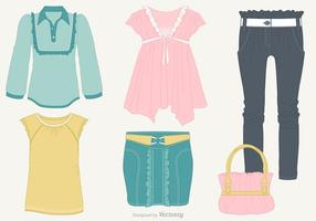 Woman Casual Clothes With Frills Vector Set