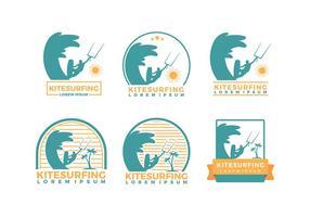 Kitesurf Logotipo Plantilla Libre Vector