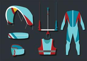 Kite Surfing Equipment Vector Pack
