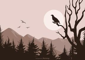 Buzzard Silhouette Isolated On Vector Landscape Background