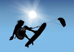 Vecteur libre de silhouette de kitesurf