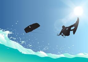 Kitersurfing springen frei Vektor