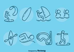Sketch Water Sport Collection Vector