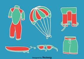 Kitesurfing Element Op Blauwe Vector