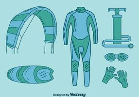 Handdragen Kitesurfing Element Vector